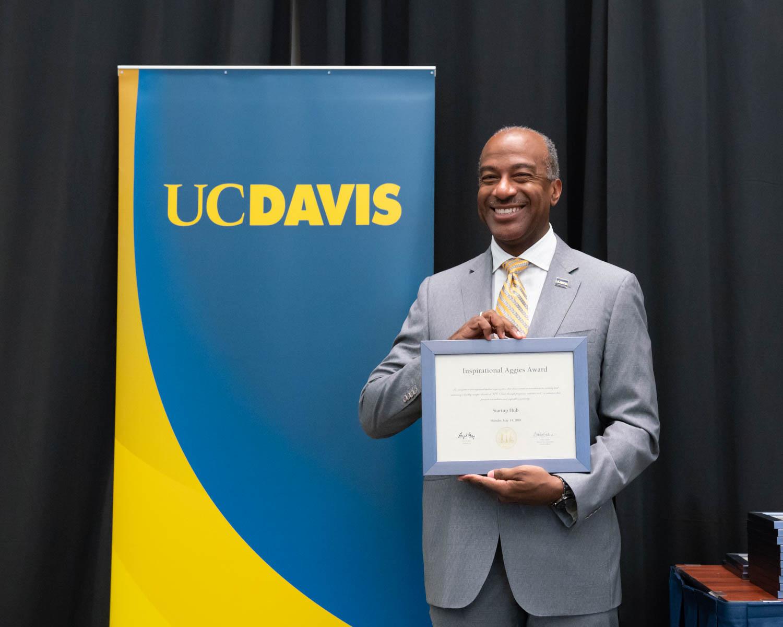 Chancellor May with Startup Hub's award