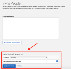 invitation of Aggielife email invitation screen